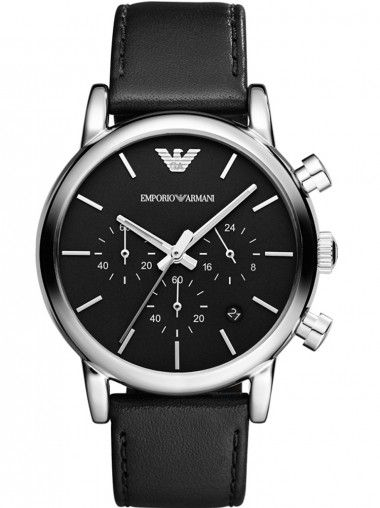 Emporio Armani Classic Gents Stainless Steel Round Black Dial Black Leather Strap Watch AR1733