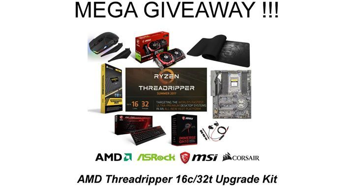 MEGA GIVEAWAY: AMD Threadripper 16c/32t Upgrade Kit!  Global entry! We have teamed up with AMD ASRock MSI Global and Corsair to give away an awesome Ryzen Threadripper upgrade kit to one lucky winner!  The winner will be one of the first in the world to own a Threadripper based system once AMD and its partners start selling hardware later this year.  How to Win  Step 1 - Like our Facebook Fan Page at https://www.facebook.com/TweakTown. Step 2  Like AMD's Facebook Fan Page ASRock's Facebook…