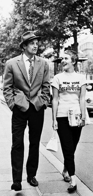 Jean Seberg and Jean-Paul Belmondo - A Bout De Souffle (Jean-Luc Godard, 1960) someone make me this shirt!