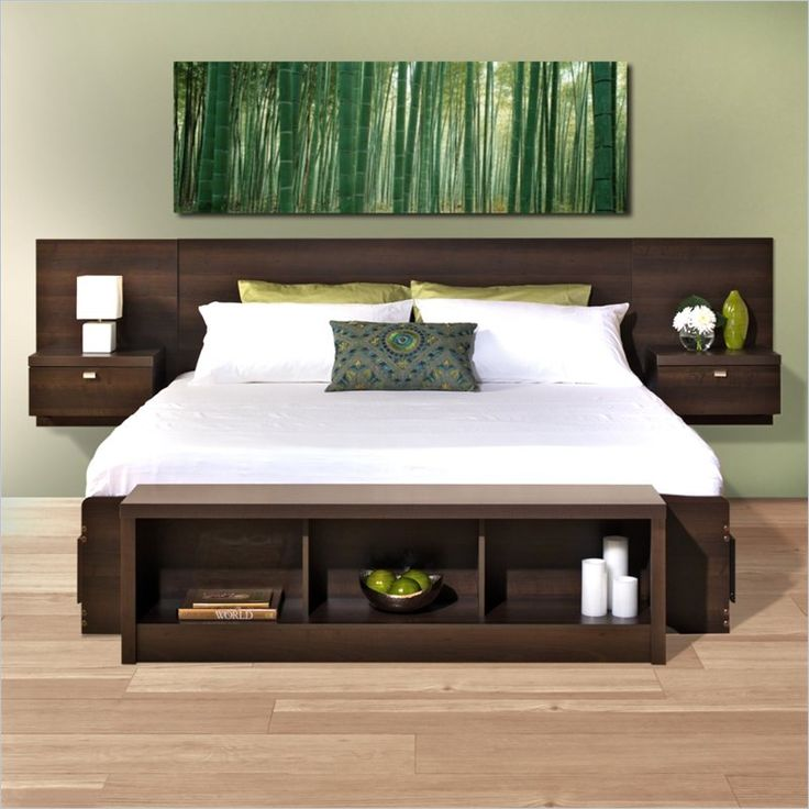 Cymax - Prepac Series 9 Platform Storage Bed with Floating Headboard in Espresso - EBX-EHHX-BED ($805 for bed and headboard)