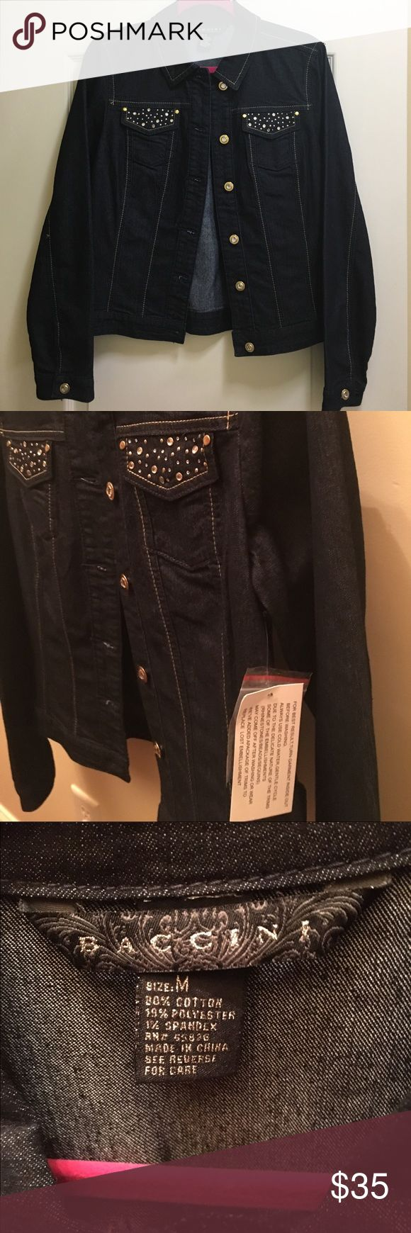 Baccini ladies denim jacket with bling Baccini Ladies medium denim jacket. Bling on pockets, cuff and buttons. Brand new with tags. Baccini  Jackets & Coats Jean Jackets