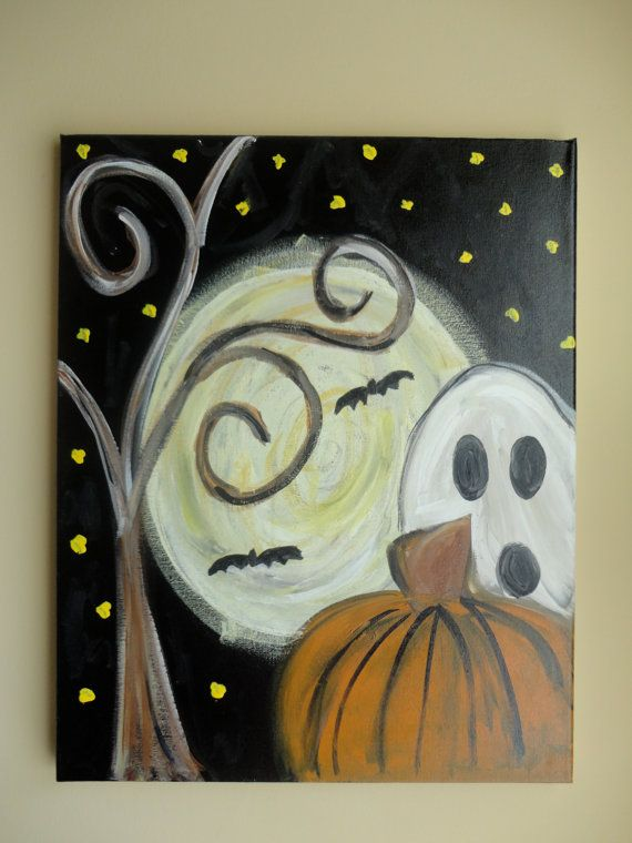 Looks pretty easy with big brush strokes - would make with a pumpkin and fall tree, maybe a turkey ~ definitely NOT a ghost & bats.