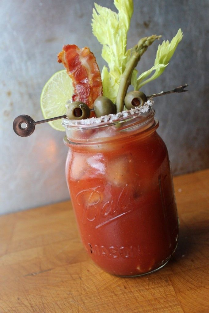Bloody Mary with Bacon and Hot Pepper Vodka.