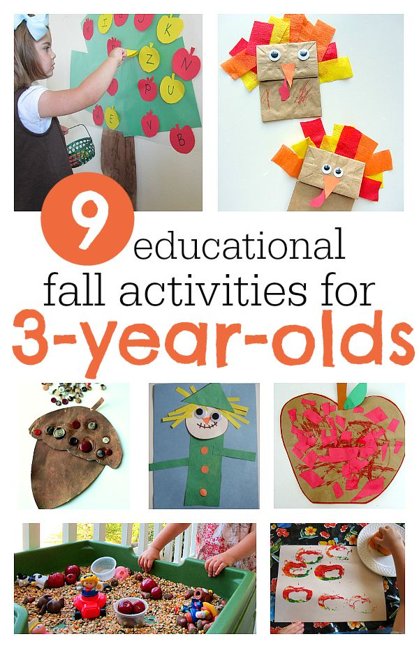 Educational activities for 3 year olds. Fun fall crafts and activties.