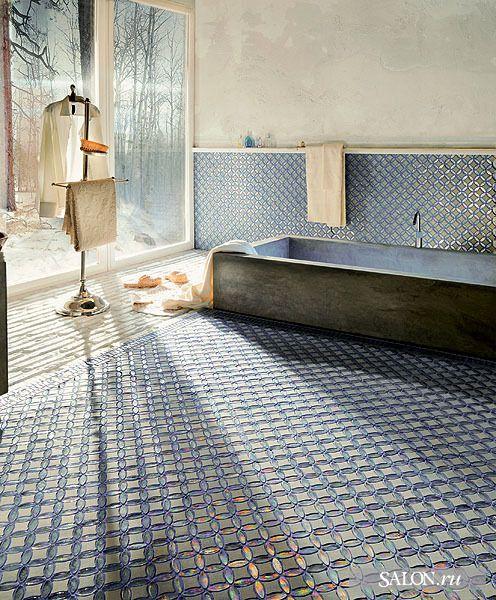 so gorgeous!: Bathroom Design, Ceramics Design, Blue Tile, Tile Floors, Earthy Bathroom, Tile Bathroom, Mosaics Tile, Huge Window, Design Studios