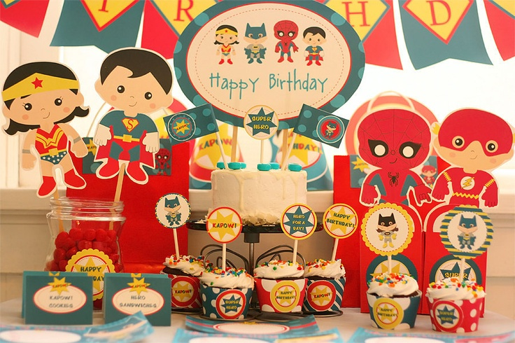 Instant Download Hero Birthday Printable Party Kit with editable Text for YOU to personalize. $14.95, via Etsy.