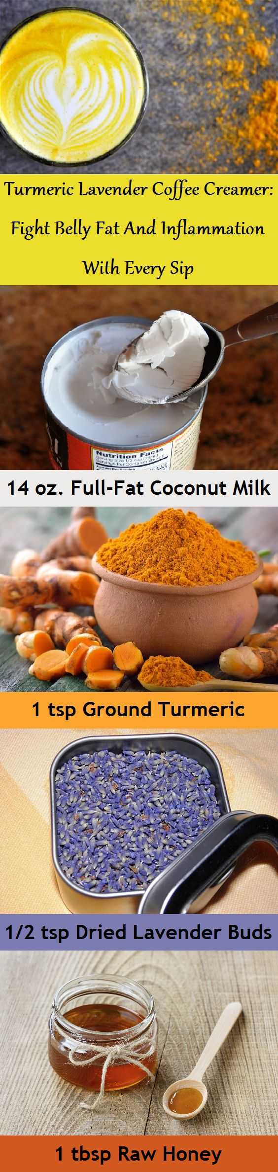 A combination of ground turmeric, coconut milk and lavender can be a soothing coffee creamer that is delicious both hot and cold.