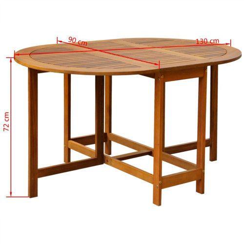 Acacia Wood Drop Leaf Table Oval Foldable Outdoor Dining Table Patio Furniture  #SmartDealsMarket
