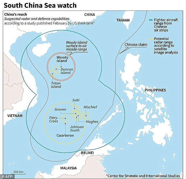 The Spratly Islands are claimed by Vietnam, Malaysia and the Philippines but lie along a sea route from Singapore to Shanghai which China sees as vitally important