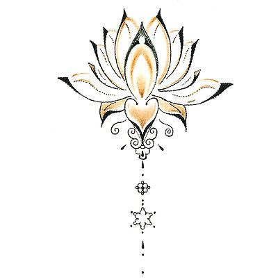 Waterproof Temporary Tattoo Stickers Cute Buddha Lotus Flowers Design Body Art