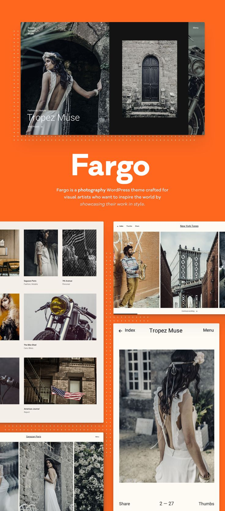 From landscape to portraits, from inserting videos to creating a striking journal, Fargo offers you the full pack of perks. This way, you can shape an engaging experience that people love and remember in the long run.  #photography #slideshow #filmstrip #portofolio #comingsoon #webdesign #pixelgrade #wordpressthemes #wordpress #portfoliotheme