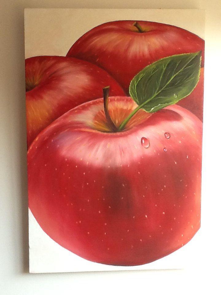 Tres manzanas. Oleo sobre tela. Por Elena Torres.