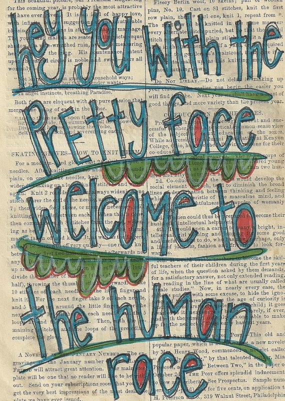 welcome to the human race original illustration on vintage book paper by Joy Northrop @ PaperPetite.etsy.com