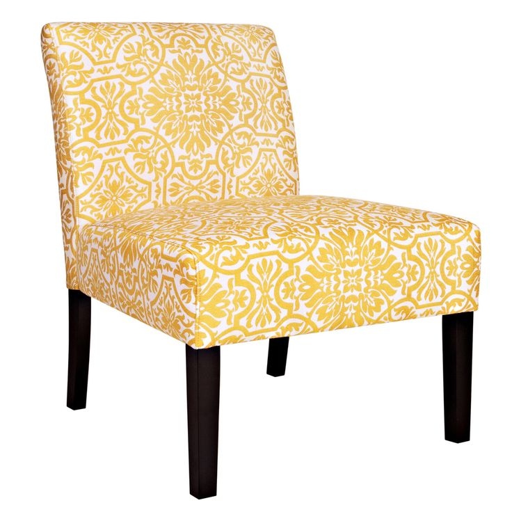 Handy Living Bradstreet Damask Yellow/ Cream Armless Chair By Handy Living