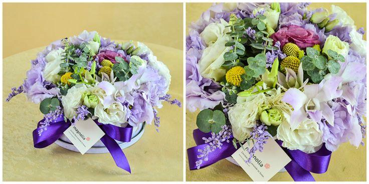 Aranjament floral in cutie decorativa #flori #aniversare