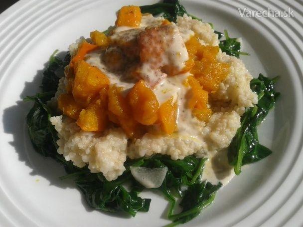 Pšeno s hokkaido, špenátom a tahini - Recept