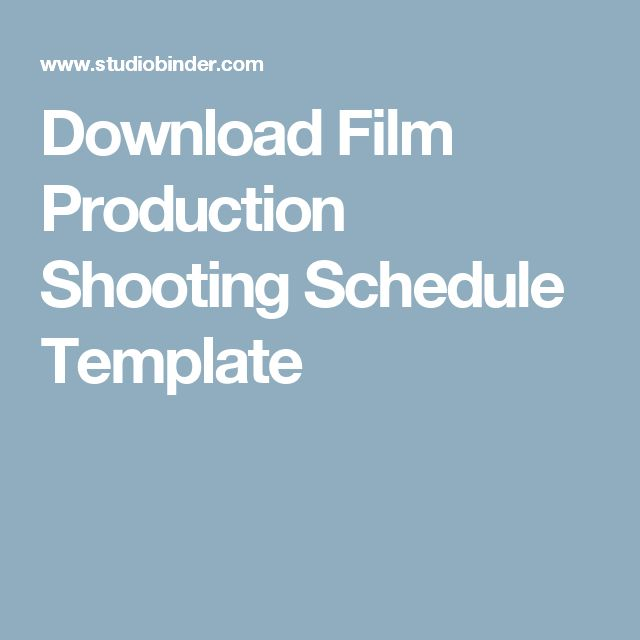 Download Film Production Shooting Schedule Template  Video Games