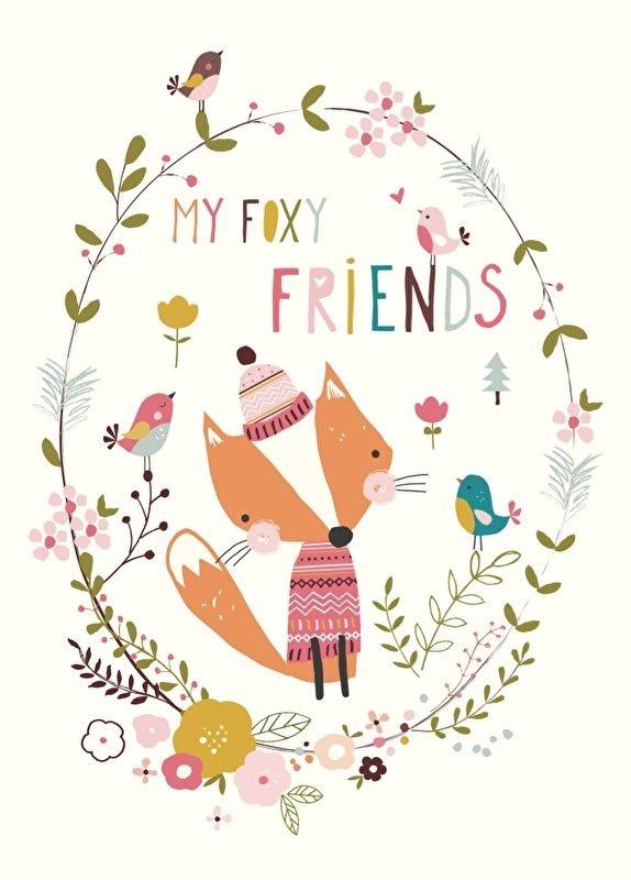 Ansichtkaart Foxy friends Ansichtkaart met vrolijk vosje. Ontwerp Nikki Upsher