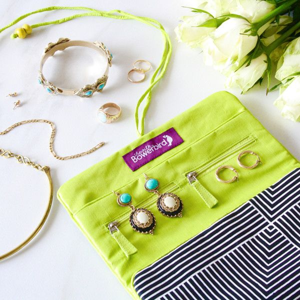 Luxe 100% Silk Travel Jewellery Roll in Lime - for lover's of jewels, travel and colour
