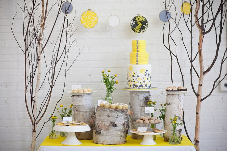 dessert tables for weddings - birch logs for pedestals? Branches with lights, ands uplighting?