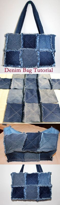 borsa con vecchi jeans, tutorial. Recycled Jeans BAG (How to make a denim bag) DIY Bag.  http://www.handmadiya.com/2015/08/bag-of-old-jeans-tutorial.html