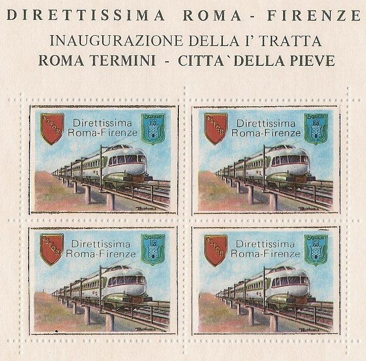 Cartolina commemorativa: Inaugurazione della linea Roma Termini - Città della Pieve, febbraio 1977.