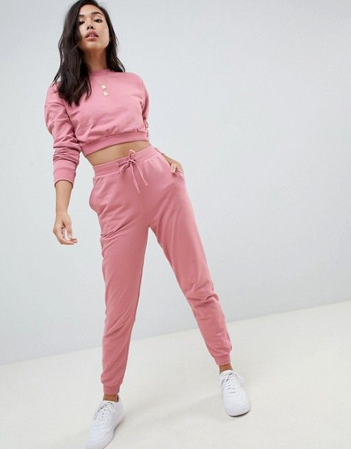 ec9fb4367753b DESIGN tracksuit cropped sweatshirt / basic jogger with tie in 2019 ...