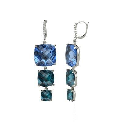 Checkerboard Cushion Pavilion Blue Topaz Platinum Earrings with London Blue Topaz