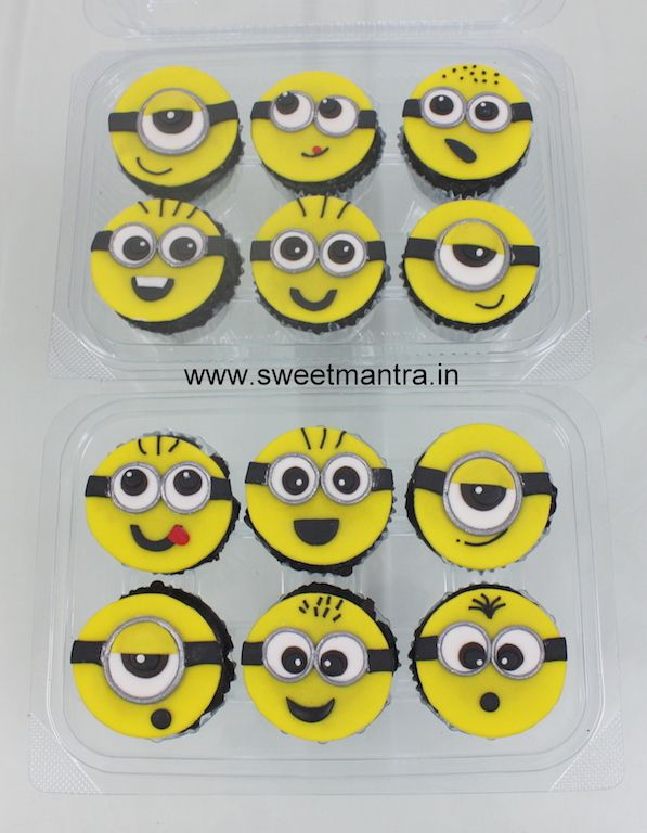 Homemade eggless, personalized, handcrafted Minions theme designer fondant cupcakes for birthday boy at SB Road, Pune