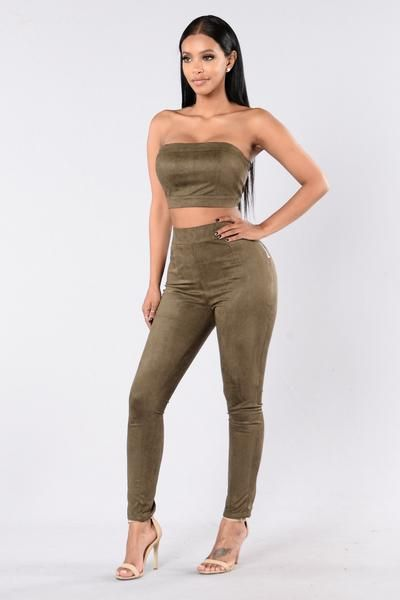 Cheap Tricks Set - Olive Available in Olive 2 Piece Matching Set Suede 100% Polyester Top Tube Top Exposed Back Zipper Bottom Skinny Leg Pants Exposed Side Zipper