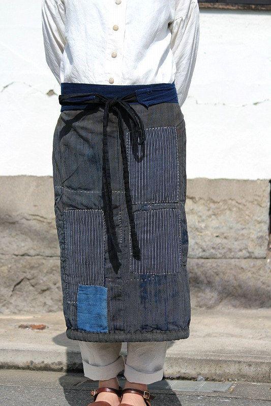 Japanese boro indigo stripe cotton wrap skirt/apron skirt/kimono noragi/patchwork sashiko/Japan/handmade/antique/reversible/275