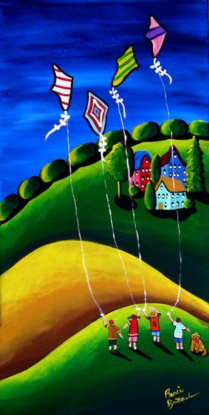 Children Flying Kites - a whimsical piece of folk art by Renie Britenbucher. Bold and bright as kites generally are these days. T.P. (my-best-kite.com)