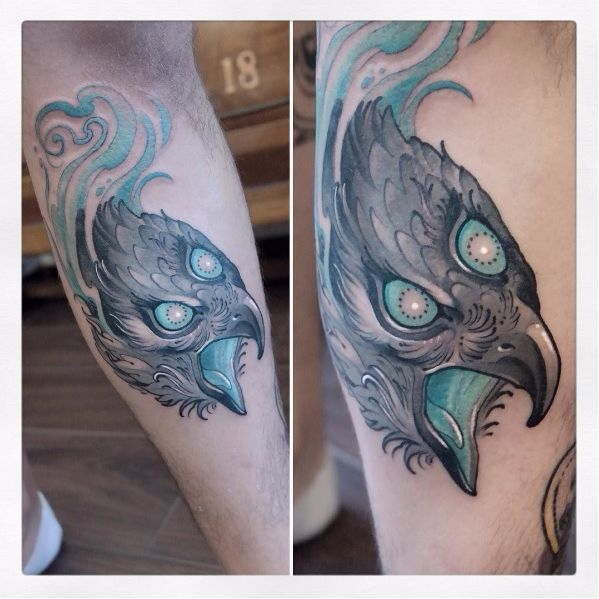 Mystic hawk tattoo by Gianpiero Cavaliere #GianpieroCavaliere #newschool…