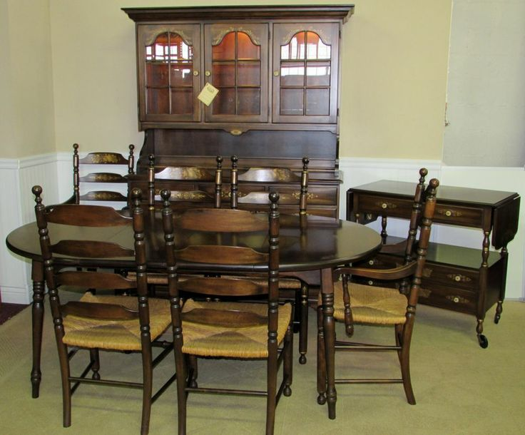 Hitchcock Coventry Dining Room 9 Piece Set, Super Clean, Signed, Stencilled