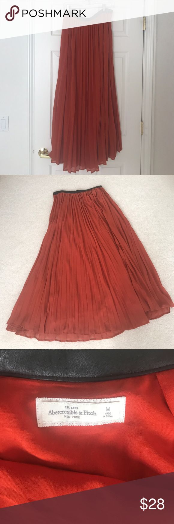"ABF Pleated Chiffon Maxi Skirt &Faux Leather belt. ABF sheer chiffon overlay maxi skirt with attached faux leather waist with a side zipper and hook. Pumpkin color. Size M.  Gently used and very good condition. 15"" waist and 39"" Length. Abercrombie & Fitch Skirts Maxi"