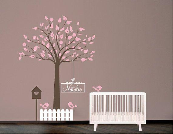 Pochoir mural arbre avec oiseaux nichoir et nom pochoir for Pochoir peinture