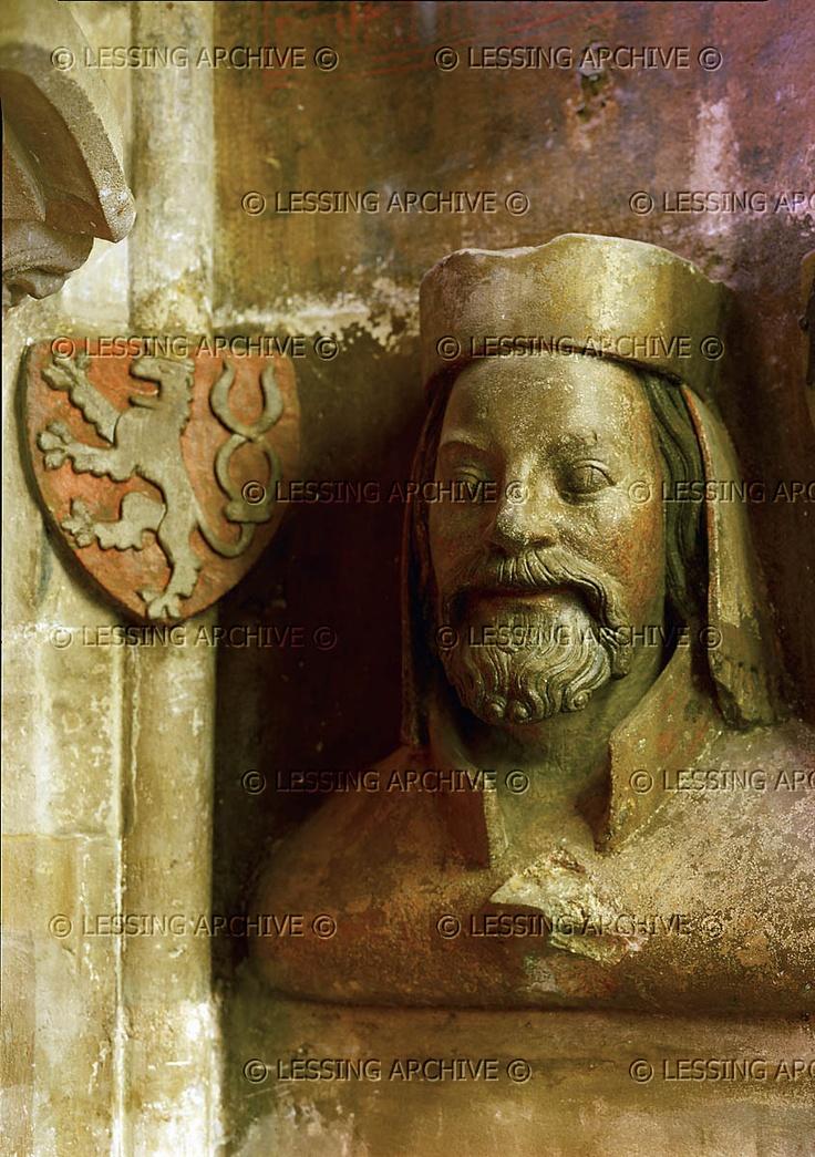 6 GOTHIC SCULPTURE 14TH CENTURY Karl IV, King of Bohemia 1346, Roman Emperor 1355. Portrait-bust from the triforium of Pragues Saint Vitus Cathedral. Cathedral Saint Vitus, Prague, Czech Republic