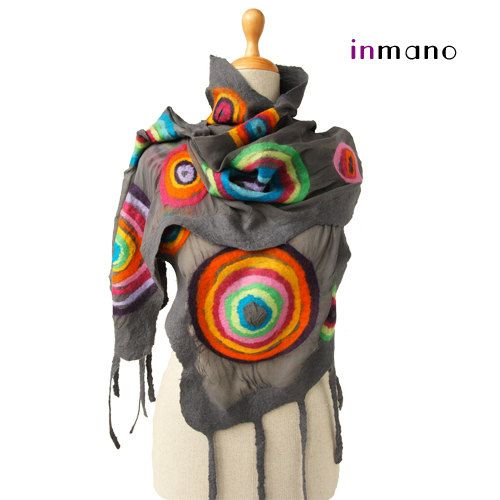 SALE!  handmade felted scarf gray multicolor circles (rainbow scarf), silk wool nuno felted fairy scarf, felted eco shawl, wrap art
