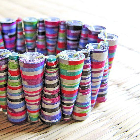 - Carnival jewelry - Paper Bead Bracelet - Spring summer, funky, Silver, Pink, Purple, Violet, Light Green, Stripe, pattern on Etsy