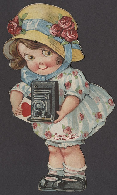 Vintage Valentine - Girl with a Camera #2- Mechanical Valentine