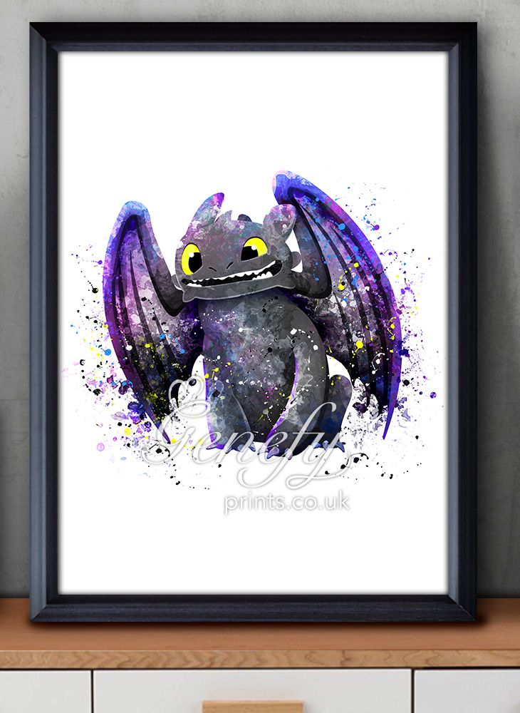 How To Train Your Dragon, Toothless, Night Fury Watercolor Painting Art Poster Print Wall Decor https://www.etsy.com/shop/genefyprints