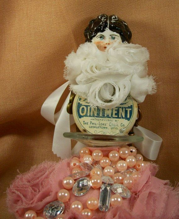 Shabby Old Bold Trendy Antique Vintage Ointment Tin Can Mixed Media Art Doll by louzart