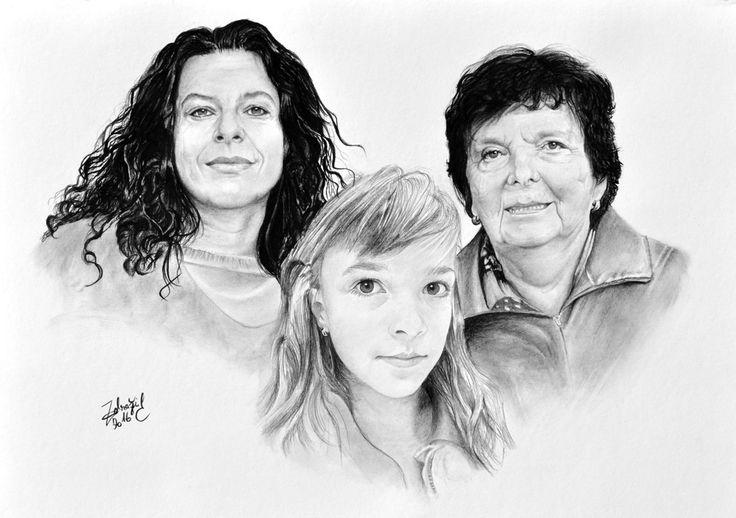 Charcoal - kresba uhlem - ženy #woman #charcoal #pitt #portrait