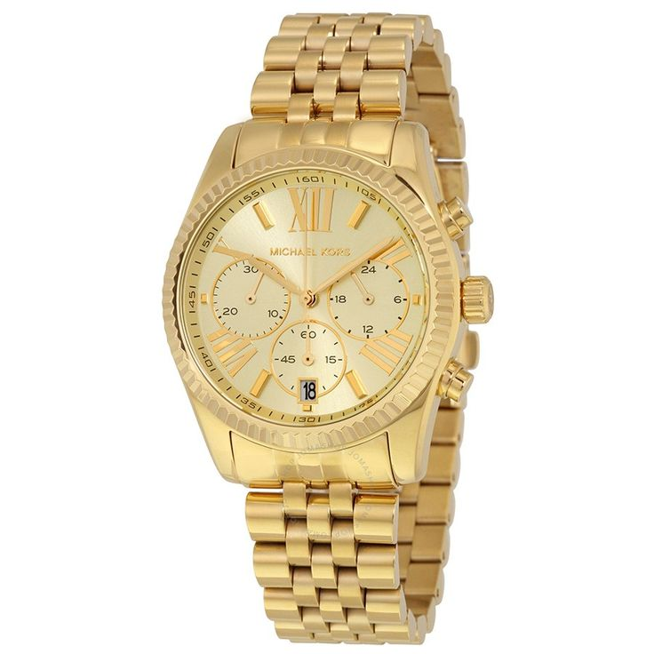 Michael Kors Lexington Chronograph Champagne Dial Gold PVD Ladies Watch MK5556 - Lexington - Michael Kors - Watches - Jomashop