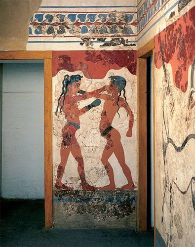 The boxing boys fresco is one of many well preserved frescoes from the island of Thera (Santorini). Thera was destroyed by a violent volcanic eruption, probably in the 16th century BCE, preserving much of the art there.
