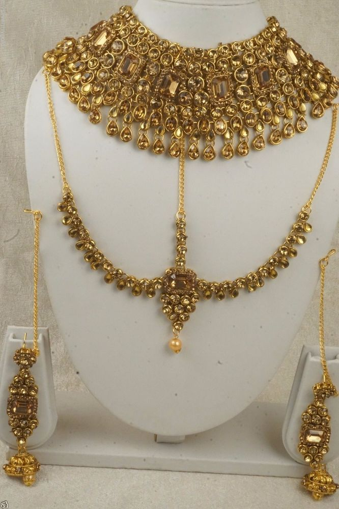 Indian Bollywood Bridal Gold Tone Necklace Earrings Set Women Fashion Jewelry #Handmade