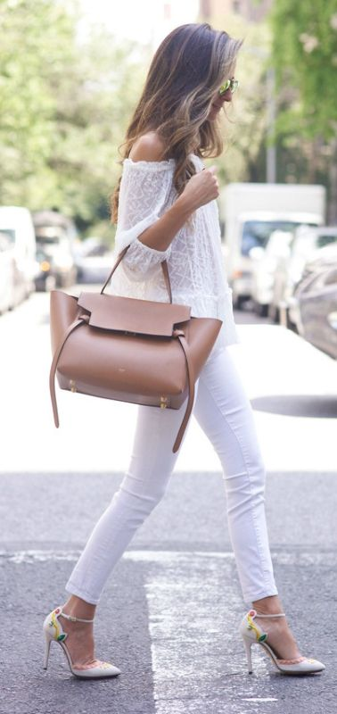 Team your white top with white jeans and let the bag and shoes do the talking. Via Arielle Nachami Jeans: Rag & Bone, Top: Rebecca Taylor, Shoes: Charlotte Olympia, Bag: Celine, Sunglasses: Westward Leaning. Off the Shoulder Top Outfit
