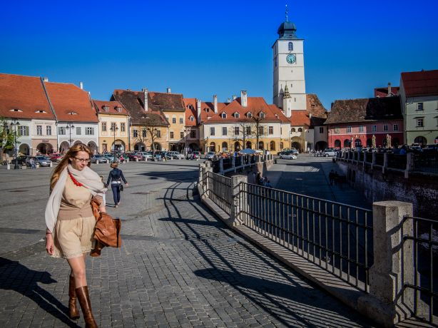 Afternoon view of Small Square from Liars Bridge in Sibiu Romania