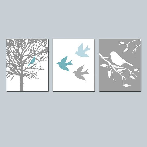 Modern Bird Trio   Set of Three Prints   Nursery Decor   Choose Your Colors    Shown in Teal Blue  Baby Blue  White  Gray. 17 Best ideas about Grey Teal Bedrooms on Pinterest   Teal