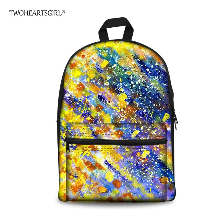 ==> [Free Shipping] Buy Best TWOHEARTSGIRL Multicolor Teen Boys Girly Backpack Printing Artist Canvas School Bag Backpack Durable Children Bag with Pocket Online with LOWEST Price | 32815792882
